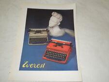 """PUBBLICITA' VINTAGE DEGLI ANNI '50-MACCHINA DA SCRIVERE""""EVEREST""""   (2)"""