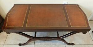 Antique/Vtg Solid Mahogany Carved Wood Tooled Leather Top Claw Foot Coffee Table