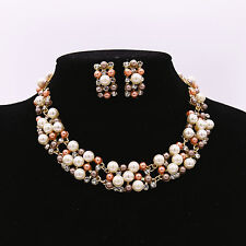 Crystal Rhinestone Diamond Pearl Pendent Necklace Earrings Set Jewelry Accessory