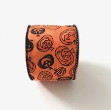 Black and Orange Pumpkins Wired Ribbon 9 Feet