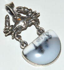 Crab - Dentrite Opal 925 Sterling Silver Pendant Jewelry JJ11340