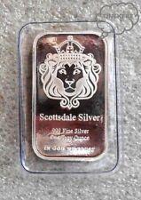 SCOTTSDALE LION PREY 1 TROY OZ. SILVER SEALED BAR .999  PURE FINE SILVER BULLION