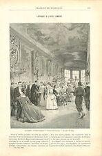 Réception de Pâques Hôtel Lambert île Saint-Louis Paris GRAVURE OLD PRINT 1890