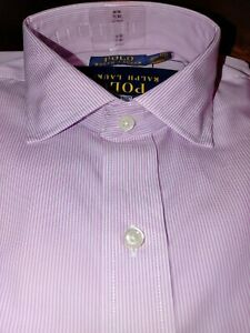 Mens Polo Ralph Lauren Dress Shirt Pink Stripe Button Up white classic fit easy