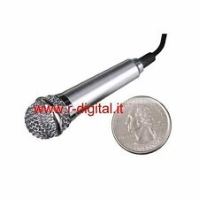 MICROFONO MINI IN METALLO 3.5mm + SUPPORTO MSN SKYPE ICQ FACEBOOK KARAOKE CHAT