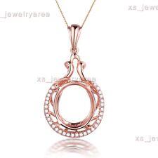 10K Rose Gold Natural Diamonds Luxurious Unique Pendant Semi Mount Oval 11x13mm