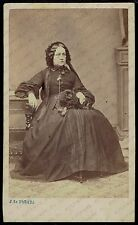 CDV Photo 1860s Woman with Dog Pekingese (2149)
