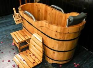 Cedar Wood Japanese Soaking Bathtub - Brand New