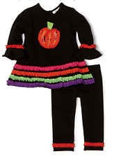 Rare Editions Baby Girls Ruched Ruffle Pumpkin Legging Set Black/Multi 12 Months