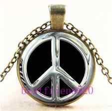 Vintage Metal peace sign Cabochon Glass Bronze Chain Pendant Necklace