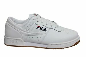 Fila Original Fitness White Leather Lace Up Mens Running Trainers 1VF80172 150