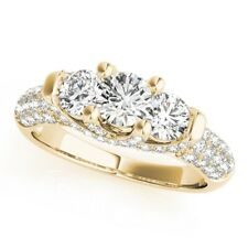 14K Yellow Gold 6 7 8 9 1.86 Ct Moissanite Anniversary Ring For Bridal Solid