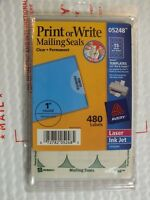 """AVERY 5248 Printable Write Mailing Seals Clear 1"""" round 480 Labels Laser Ink Jet"""