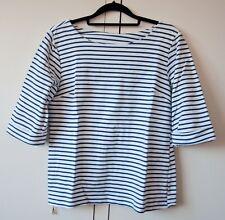 Women Top White Navy Stripes Zip 3/4 Sleeve Loose Size S