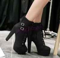 Fashion Womens Lace Up High Heels Platform Pumps Shoes Ankle Boots US Plus Size