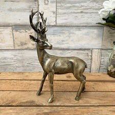 Antique Gold Stag Deer Reindeer Antlers Home Ornament Sculpture Statue Art Right