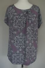 WHITE STUFF WOMENS LILAC GREY PATTERNED TOP Size 14 Abstract Floral Blouse