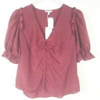 New Joie Anevy Womens Burgundy Red Ruffle Puff Sleeve Blouse Top Size Medium