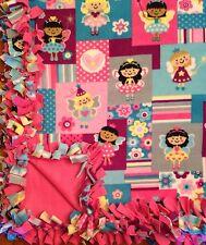 Handmade FLEECE TIE-BLANKET Novelty Fairy Princess Pink Purple  58X72 2 layers