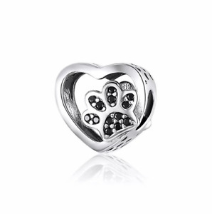 SOLID Sterling Silver My Sweet Pet Paw Charm - Black CZ by YOUnique Designs