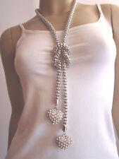 Modekette lang Modeschmuck Damen Hals Kette 2 x Strass Herz XL Silber j8760