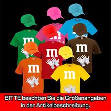 Gruppenkostüm für M&M Fans MM Fasching Shirt, farblich passende Cap + Handschuhe