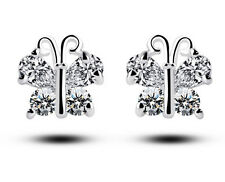 White Gold Plated Butterflies Stud Earrings Gift for Small Girls or Women  E758