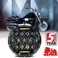 "DOT 7"" inch LED Headlight Halo Black for Honda Harley Kawasaki Motorcycle Yamaha"