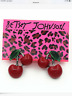 Betsey Johnson Women's Enamel Red Resin Cherry Ear Stud Earrings Jewelry Gift