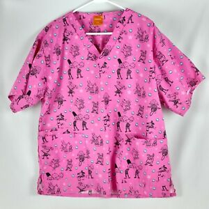 Nickelodeon Rugrats Womens Scrubs Top Sz 1X Cartoon Pink V Neck Short Sleeve