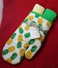 Pineapple Oven Mitt Large Green Yellow Kitchen Dish Towel Set 3 Island Tropical
