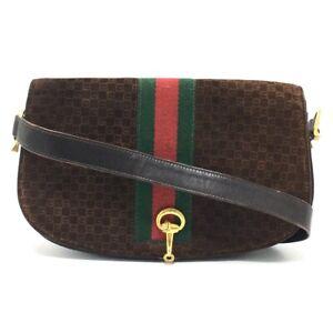 GUCCI Logo Sherry Line Vintage Shoulder Bag Suede x Leather Brown