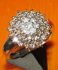 SECONDHAND 14ct WHITE GOLD COGNAC & WHITE DIAMOND ROUND CLUSTER RING SIZE N