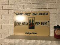 Twin Pines Dairy Logo Detroit Michigan Sign .040 Aluminum New Divco