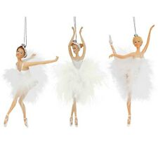 White Set of 3 Ballerina Hanging Christmas Tree Decorations / Ornaments