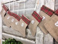 Rustique Style Calendrier de L'Avent Noël Guirlande 24 Noël Présent Décoration