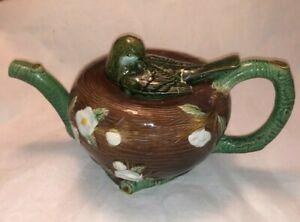 Antique Holdcroft Majolica Figural Bird in Nest Teapot