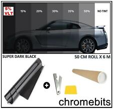 AUTO CAR OFFICE TINTING WINDOW TINT FILM SUPER DARK LIMO BLACK 5% 6M x 50CM