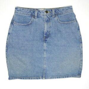 American Apparel Womens Blue Denim High Waisted Mini Skirt Size M Made in USA