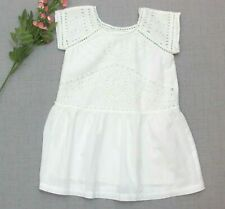 Mimi & Maggie White Eyelet Dress Size 4T Short Sleeves Fully Lined 100% Cotton