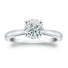 Certified 14k White Gold 4-Prong Round Diamond Solitaire Ring 1.00ct G-H, I1-I2