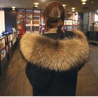 Women Winter Warm Real Big Fur Collar Hooded Loose Jacket Thick Down Luxury Coat