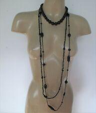 Black GLASS Beads Necklace X 3 Vintage 2 Long & 1 Choker Retro Feminine Chic