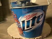 Miller Lite Beer Metal Ice Bucket 5 Quart Its Time Bottle Pail Holder Party