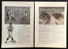 Babe Ruth Homerun Secrets 1928 original vintage article