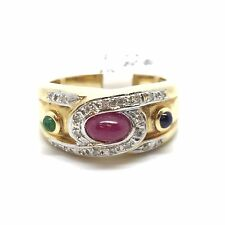 14K Yellow Gold Emerald, Ruby, Sapphire with Diamond Ring; 1.35 CTTW; Orig. $900