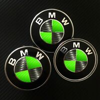 Black / Green CARBON Fiber Overlay Decal to BMW ROUNDELS EMBLEMS Rims Hood Trunk