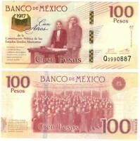 MEXICO 100 Pesos (2017) P-130 AY Series Q Prefix UNC Banknote Paper Money