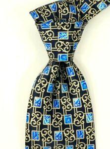 "$230 NWOT Brioni Black w/ Blue & Gold Leaf Geometric Silk Neck Tie ITALY 3.1""W"