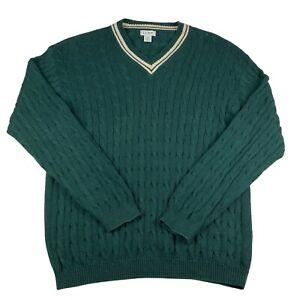 L.L. Bean Cableknit Jumper Mens Big And Tall Green XL Pullover Sweater